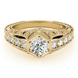 0.65 CTW Certified VS/SI Diamond Solitaire Antique Ring 18K Yellow Gold - REF-137K3W - 27302
