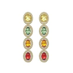 6.09 CTW Multi Color Sapphire & Diamond Earrings 10K Yellow Gold - REF-135W3H - 40552