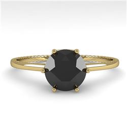 1.0 CTW Black Diamond Solitaire Engagement Ring 18K Yellow Gold - REF-53N6A - 35902