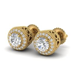 1.55 CTW VS/SI Diamond Solitaire Art Deco Stud Earrings 18K Yellow Gold - REF-259A3V - 36964
