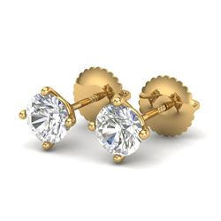 1.01 CTW VS/SI Diamond Solitaire Art Deco Stud Earrings 18K Yellow Gold - REF-180R2K - 37300