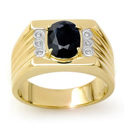 3.76 CTW Blue Sapphire & Diamond Men's Ring 10K Yellow Gold - REF-73H8M - 13516