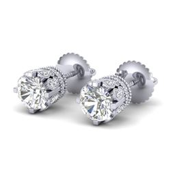 3 CTW VS/SI Diamond Solitaire Art Deco Stud Earrings 18K White Gold - REF-619M6F - 36836