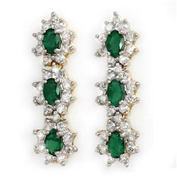 2.52 CTW Emerald & Diamond Earrings 14K Yellow Gold - REF-92H4M - 13994