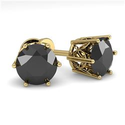 3.0 CTW Black Certified Diamond Stud Solitaire Earrings 18K Yellow Gold - REF-84F7N - 35854