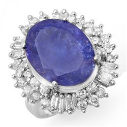 12.75 CTW Tanzanite & Diamond Ring 18K White Gold - REF-480Y9X - 14437