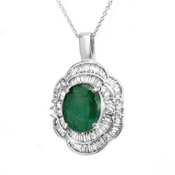 4.60 CTW Emerald & Diamond Pendant 18K White Gold - REF-200M2F - 14245