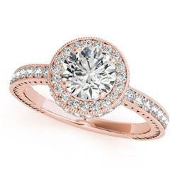 1.51 CTW Certified VS/SI Diamond Solitaire Halo Ring 18K Rose Gold - REF-398A5V - 26938