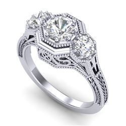 1.05 CTW VS/SI Diamond Solitaire Art Deco 3 Stone Ring 18K White Gold - REF-200R2K - 37100