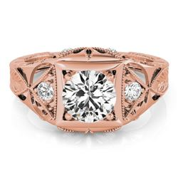 0.60 CTW Certified VS/SI Diamond Solitaire Antique Ring 18K Rose Gold - REF-132X2R - 27238