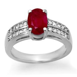 3.38 CTW Ruby & Diamond Ring 14K White Gold - REF-60H5M - 14274