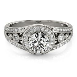 1.15 CTW Certified VS/SI Diamond Solitaire Halo Ring 18K White Gold - REF-218K2W - 26742