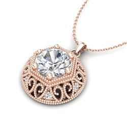 1.11 CTW VS/SI Diamond Solitaire Art Deco Stud Necklace 18K Rose Gold - REF-298V2Y - 36924