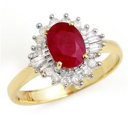 1.55 CTW Ruby & Diamond Ring 10K Yellow Gold - REF-44W5H - 13205