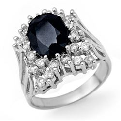 5.15 CTW Blue Sapphire & Diamond Ring 18K White Gold - REF-141A3V - 13506