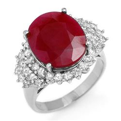 8.32 CTW Ruby & Diamond Ring 18K White Gold - REF-180F2N - 12852