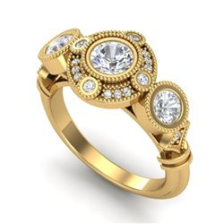 1.51 CTW VS/SI Diamond Solitaire Art Deco 3 Stone Ring 18K Yellow Gold - REF-300K2W - 36988