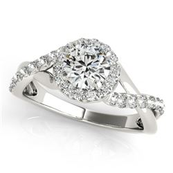 0.60 CTW Certified VS/SI Diamond Solitaire Halo Ring 18K White Gold - REF-78R2K - 26658