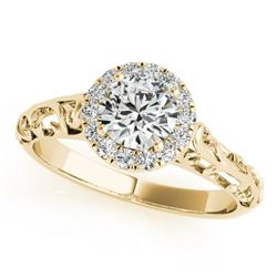 0.62 CTW Certified VS/SI Diamond Solitaire Antique Ring 18K Yellow Gold - REF-110F4N - 27326