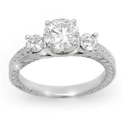 1.50 CTW Certified VS/SI Diamond Ring 14K White Gold - REF-393X9R - 13431