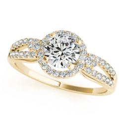 0.75 CTW Certified VS/SI Diamond Micro Pave Solitaire Halo Ring 18K Yellow Gold - REF-119A3V - 26804