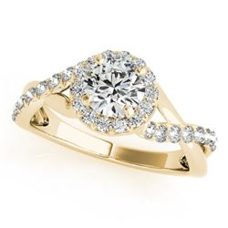 0.85 CTW Certified VS/SI Diamond Solitaire Halo Ring 18K Yellow Gold - REF-140V2Y - 26666