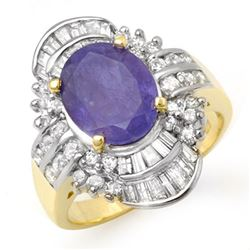 5.20 CTW Tanzanite & Diamond Ring 14K Yellow Gold - REF-187K6W - 14429