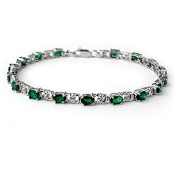 5.02 CTW Emerald & Diamond Bracelet 14K White Gold - REF-52F4N - 14061