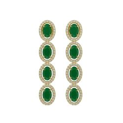 6.47 CTW Emerald & Diamond Earrings Yellow Gold 10K Yellow Gold - REF-114W2H - 40504