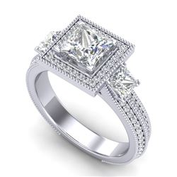 2.5 CTW Princess VS/SI Diamond Micro Pave 3 Stone Ring 18K White Gold - REF-527X3R - 37196