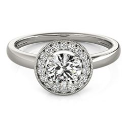 0.90 CTW Certified VS/SI Diamond Solitaire Halo Ring 18K White Gold - REF-187R5K - 26314