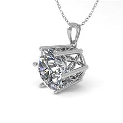 1 CTW Certified VS/SI Diamond Solitaire Necklace 18K White Gold - REF-274K6W - 35862