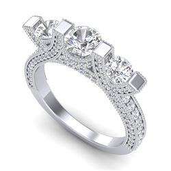 2.3 CTW VS/SI Diamond Solitaire Micro Pave 3 Stone Ring Band 18K White Gold - REF-263A6V - 36956