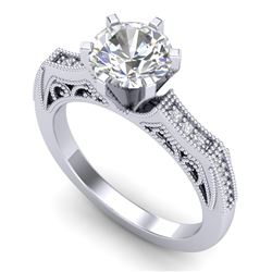 1.51 CTW VS/SI Diamond Solitaire Art Deco Ring 18K White Gold - REF-536W4H - 37076