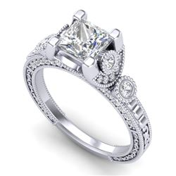 1.75 CTW Princess VS/SI Diamond Art Deco Ring 18K White Gold - REF-445W5H - 37148