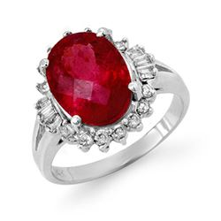 3.56 CTW Rubellite & Diamond Ring 14K White Gold - REF-92K4W - 14050