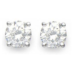 1.0 CTW Certified VS/SI Diamond Solitaire Stud Earrings 18K White Gold - REF-141R8K - 13535