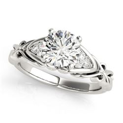 1.35 CTW Certified VS/SI Diamond Solitaire Ring 18K White Gold - REF-498R2K - 27826