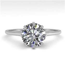 1.51 CTW Certified VS/SI Diamond Engagement Ring 18K White Gold - REF-567X2R - 35760