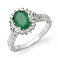 2.75 CTW Emerald & Diamond Ring 18K White Gold - REF-69W3H - 12776