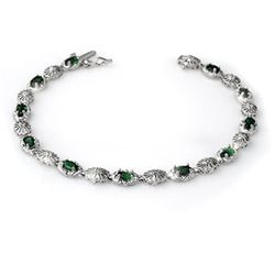 2.62 CTW Emerald & Diamond Bracelet 14K White Gold - REF-60K2W - 14130