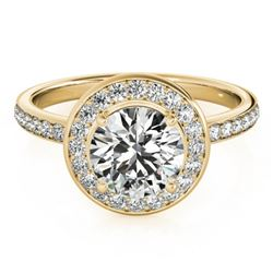 1.08 CTW Certified VS/SI Diamond Solitaire Halo Ring 18K Yellow Gold - REF-200F2N - 26987