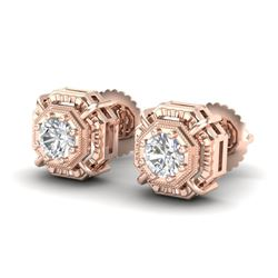 1.11 CTW VS/SI Diamond Solitaire Art Deco Stud Earrings 18K Rose Gold - REF-218W2H - 36876