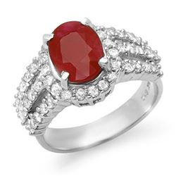 4.70 CTW Ruby & Diamond Ring 18K White Gold - REF-134R9K - 13152