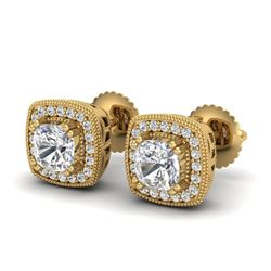 1.25 CTW Cushion Cut VS/SI Diamond Art Deco Stud Earrings 18K Yellow Gold - REF-218M2F - 37036