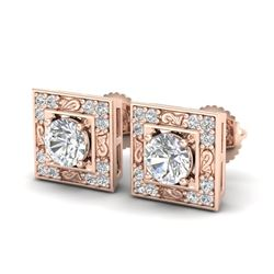 1.63 CTW VS/SI Diamond Solitaire Art Deco Stud Earrings 18K Rose Gold - REF-254N5A - 37269