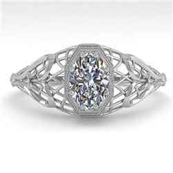 0.50 CTW VS/SI Oval Diamond Solitaire Engagement Ring Deco Size 7 18K White Gold - REF-104N7A - 3602