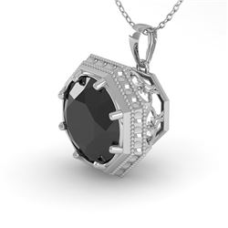 1 CTW Black Diamond Solitaire Necklace 18K White Gold - REF-50N9A - 35997