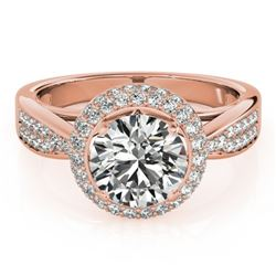 1.40 CTW Certified VS/SI Diamond Solitaire Halo Ring 18K Rose Gold - REF-225K6W - 27004