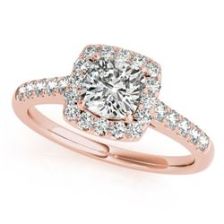 1.16 CTW Certified VS/SI Cushion Diamond Solitaire Halo Ring 18K Rose Gold - REF-216F4N - 27124